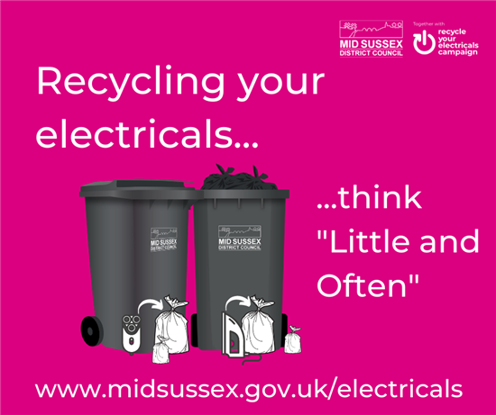 "Recycle your electricals ""Little and Often"" poster"